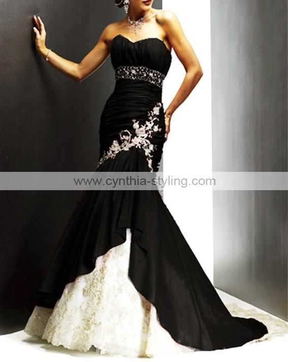 gorgeous black and white wedding dress with embroidered and bling detail instead of white do red