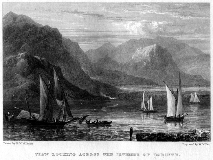 Hugh William Williams (1773-1829)-View Looking Across the Isthmus of Corinth_engraving by William Miller (1796–1882)