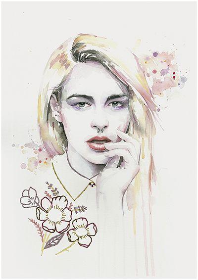 Retrato en acuarela y bordados de sarawberry por Almu Ruiz. Watercolor and embroidery art