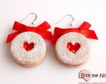 Polymer Clay Jewelry Strawberry Jam Biscuits Hooks, Mini Food, Handmade Earrings, Polymer Clay Sweets, Miniature Food, Kawaii Jewelry,Linzer