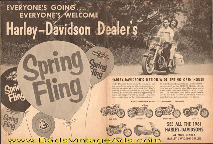 Shown: Duo-Glide, Sportster H, Sportster CH, Super-10, Sprint, Topper H - see all the 1961 Harley-Davidsons at your nearby Harley-Davidson dealer.   Harley-Davidson's Nation-Wide Spring Open House. Harley-Davidson dealers across the country are putting out welcome mats for riding enthusiasts ev