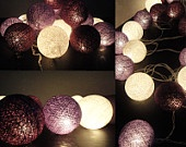 20 Mixed Purple Tone Handmade Cotton Balls Fairy String Lights Home Decor