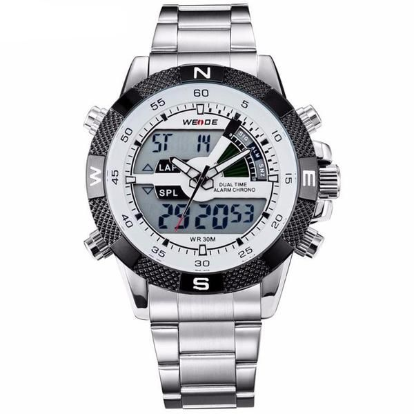 Men's Quartz Multifunction Military Watch  Feature:  Alarm,Back Light,Water Resistant,Multiple Time Zone,Chronograph,Repeater,Stop Watch,Complete Calendar,Swim,Auto Date,LED display,Diver    Water Resistance Depth:  3Bar    Clasp Type:  Bracelet Clasp    Movement:  Quartz    Case Thickness:  16.5mm    Dial Diameter:  47.8mm    Case Shape:  Round    Band Length:  21cm    Brand Name:  WEIDE    Case Material:  Alloy    Band Width:  22mm  http://www.leonardwatches.it/products..