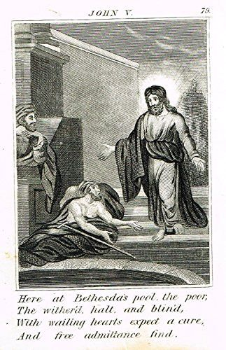 """Miller's Scripture History - """"JESUS HEALS THE POOR AT BETHESDA'S POOL"""" - Small Religious Copper Engraving - 1839"""