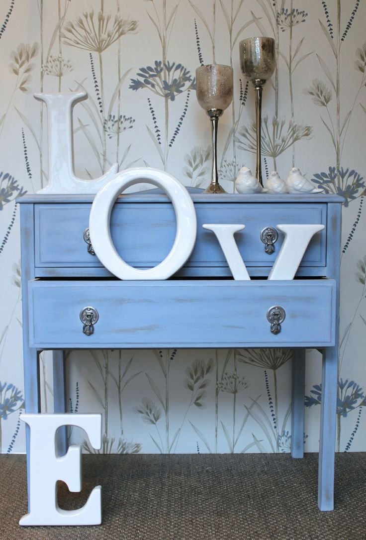 Upcycled side table, hand painted with Autentico chalk paint, colour 'Gers Blue & Loft'...designed by Just So Interiors