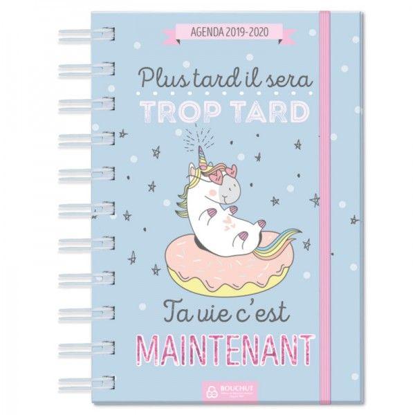 Agenda scolaire 12,5x17,5 cm Licorne bleu Bouchut 2019/2020 ...