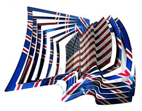 K&N- Outdoor American Flag Hanging Art Kinetic Wind Spinner 3D Garden Lawn Decor #KandN #Modernism
