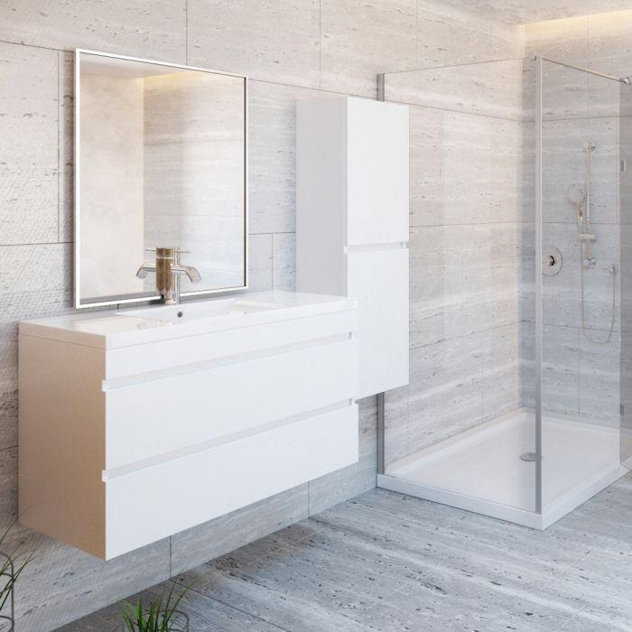 Ensemble Meuble Lavabo Mural 36 Blanc Lustre Avec Dessus En