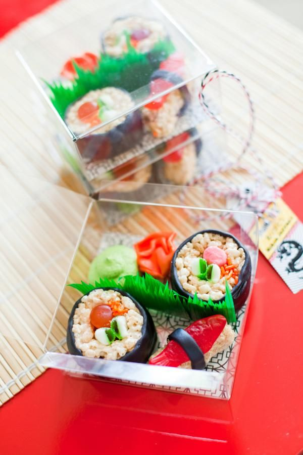 cute.  sushi made from rice krispies, swedish fish, candy