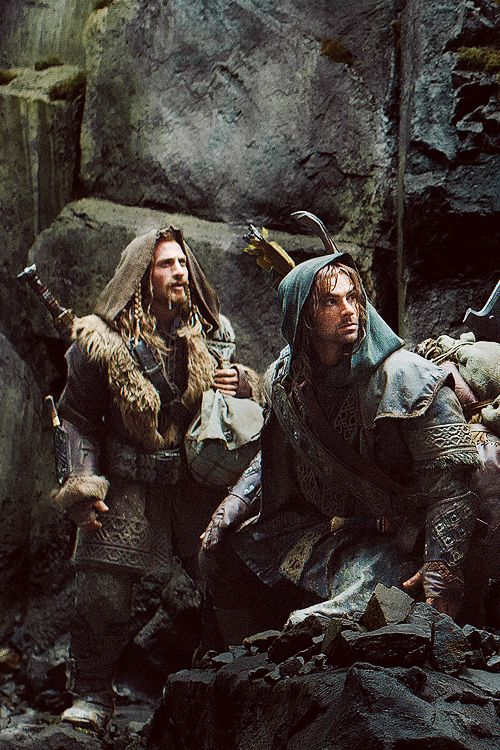 Fili and Kili from the Hobbit, Fili yells grab my hand and I think that is really the first time you realize Fili at his core is Kili's big brother.