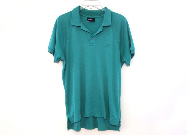 Vintage 80s Nike polo shirt tshirt teal green mens by 216vintageModern on Etsy