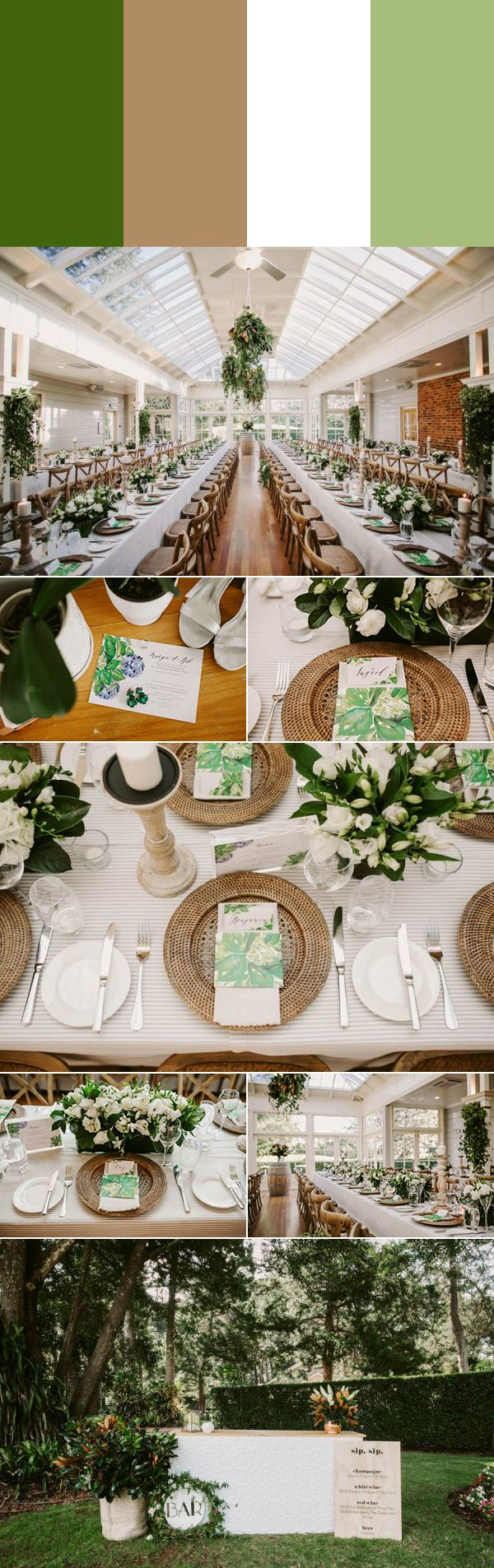 Tree green, tan, white, and lime wedding color palette | Images by Edwina Robertson