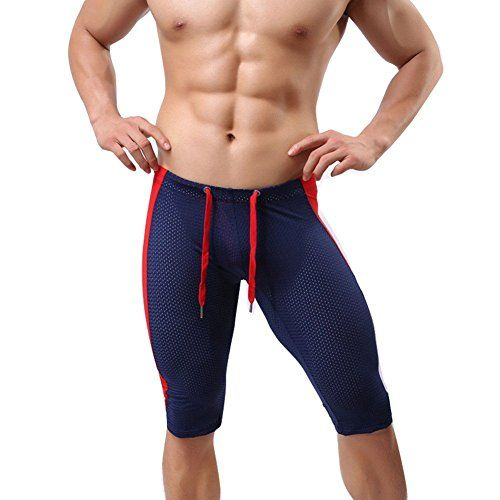 YiZYiF Men's Breathable Running Tights Bikini Stretch Workout Pants Navy Blue Medium  Set Include: 1pc Mens Sports Tights  Mens slim-fit stretch sports tights shorts underwear  Smooth stretchy fabic, quite flexible and comfortable  Breathable holes for sweat dries quickly, elastic wiastband with fastening string for size adjustable  Suitable for all sports indoors and outdoors.