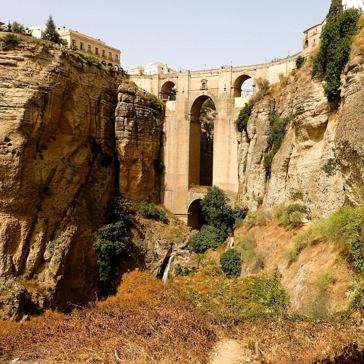 Ronda, Spain - A view of the magnificent Puente Nuevo from below