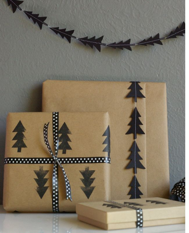 DIY Black Tree Garland and Stamped Wrapping Paper