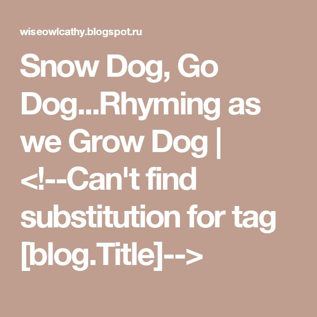 Snow Dog, Go Dog...Rhyming as we Grow Dog | <!--Can't find substitution for tag [blog.Title]-->