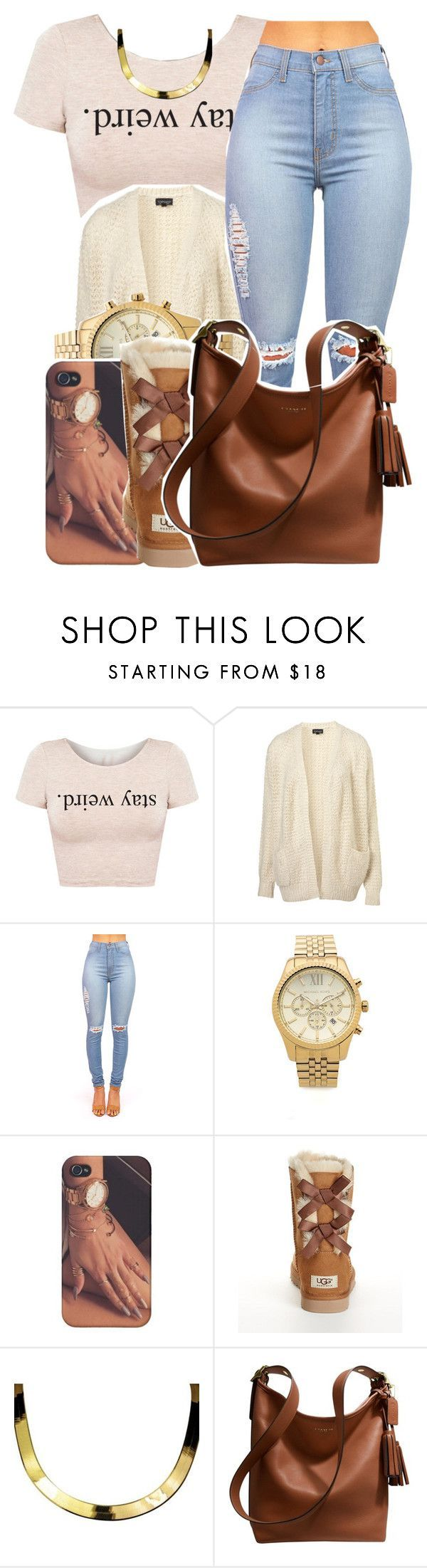"""10/26/15"" by xtaymaxlovesxmisfitx ❤ liked on Polyvore featuring Topshop, Michael Kors, UGG Australia, ASAP and Coach"