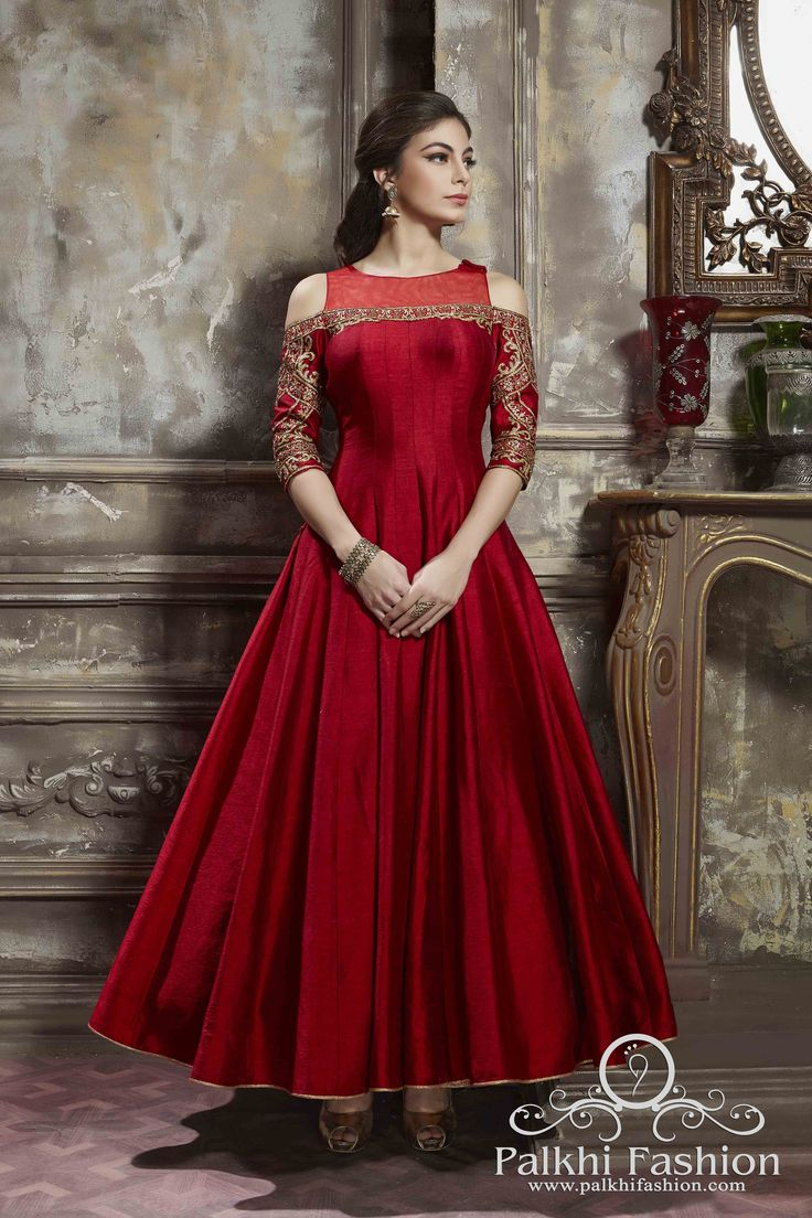 PalkhiFashion Designer Full Flair Red Silk Outfit With Elegant Work and Cold Shoulder Look.