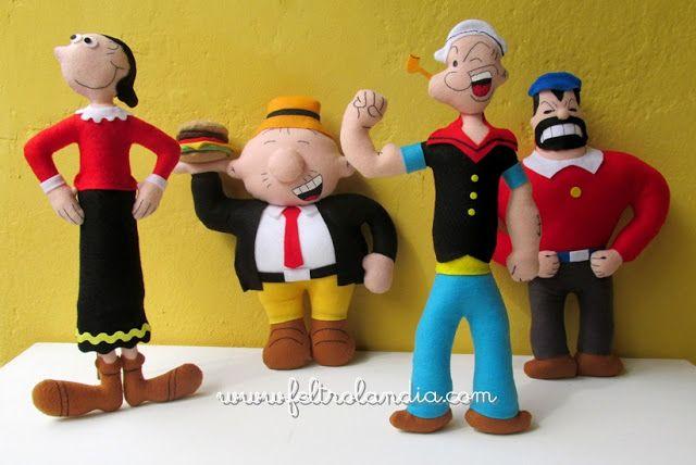 Bonecos da Turma do Popeye encomendados pela Ana Keli, de Curitiba/PR.   Olívia, Dudu, Popeye e Brutus... todos reunidos para decorar a fes...
