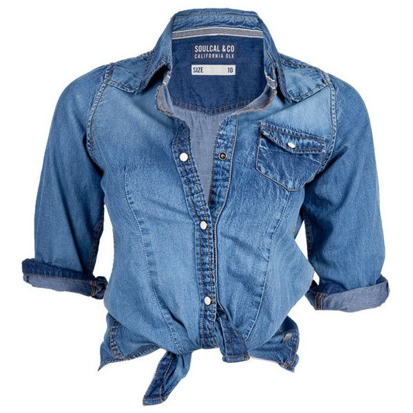 Soul Cal Deluxe Fitted Denim Shirt ($48) ❤ liked on Polyvore