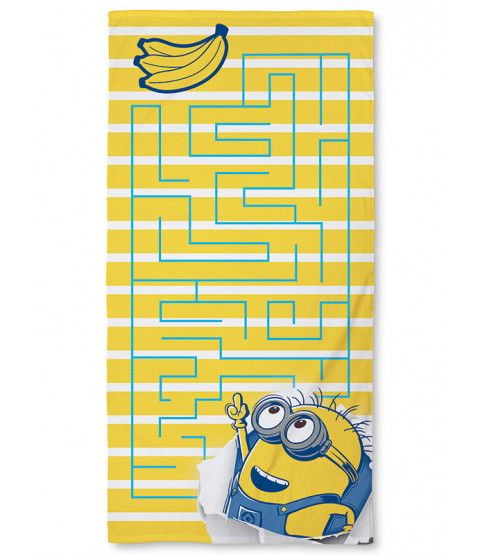 This Despicable Me Minions Awesome Towel is ideal for the beach, pool or bath. features a maze pattern over a yellow and white striped background. Made from 100% cotton, this large towel has a soft velour feel. Free UK delivery available.