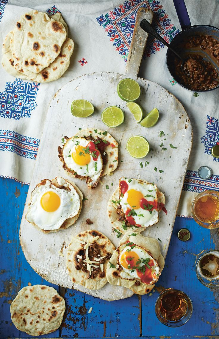 Refried beans, fried egg and chilli salsa tacos recipe from Breakfast: Morning, Noon & Night by Fern Green | Cooked