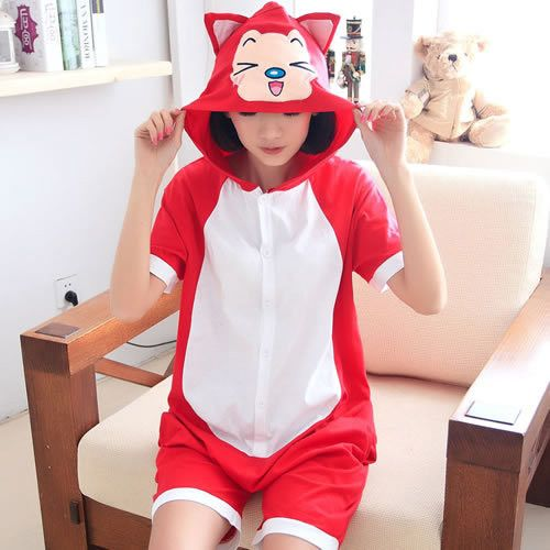 Summer pajamas Totoro Panda Adult Unisex One Anime Short Sleeve Cotton Hooded Pajamas Pijamas Cosplay Women Onesies Homewear