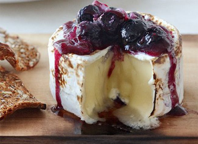 Rock your Easter Brunch: Maple Plank grilled Brie with Blueberry Sauce. Recipe link: http://dot95.wix.com/geobasket#!cheese/cooa