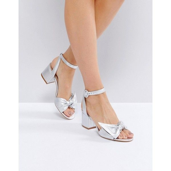 ALDO Beautie Silver Mid Heeled Knot Front Sandals ($100) ❤ liked on Polyvore featuring shoes, sandals, silver, aldo shoes, ankle strap wedge sandals, mid heel wedge sandals, silver wedge sandals and mid-heel sandals