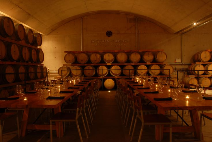 Dining in the barrel room of our Niagara Estate.