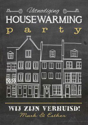 Mooie eigentijdse housewarming kaart, leuk om te geven en te krijgen, verkrijgbaar bij #kaartje2go voor €0,99