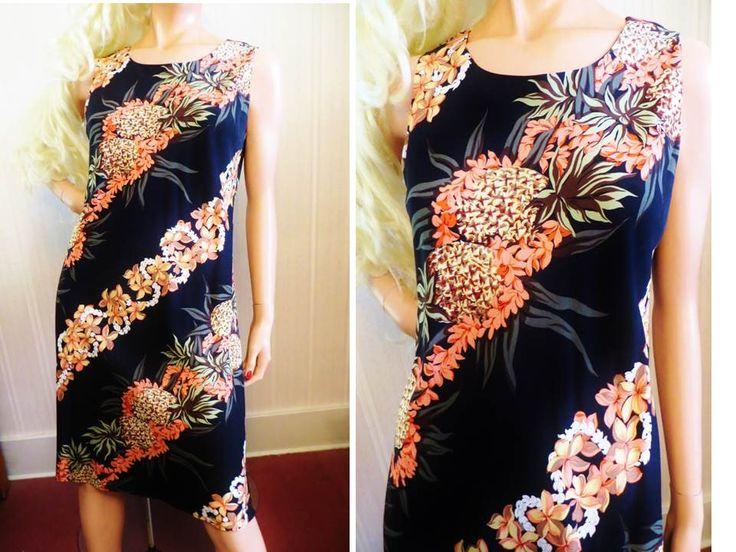 Vintage Rayon Hawaiian Dress, Hilo Hattie Dress, Black Pineapple Hibiscus Print, Sleeveless Chemise Aloha Dress, Size M by TomCatBazaar on Etsy