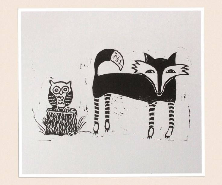 A personal favorite from my Etsy shop https://www.etsy.com/au/listing/281674894/owl-and-fox-linocut-print-limited