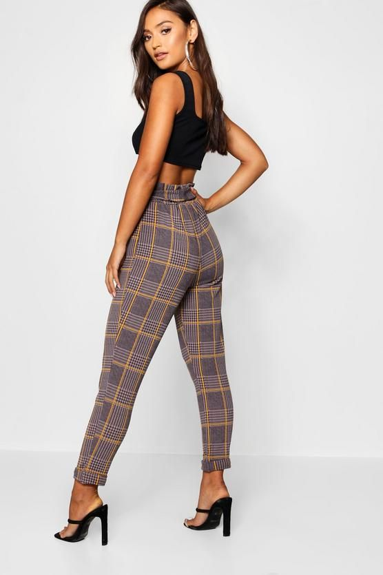 4214ee21552ea Petite Dogtooth Check Belted Trouser | boohoo | Trousers, Boohoo ...