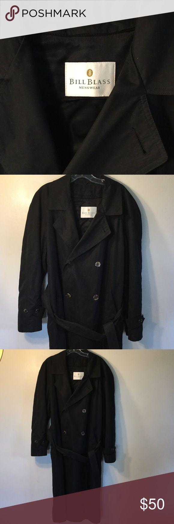 Men's raincoat ☔️ Long black double breasted raincoat.  100% wool. Open to offers Bill Blass Jackets & Coats Raincoats