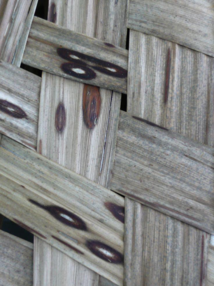 Harakeke, woven;  natural marks