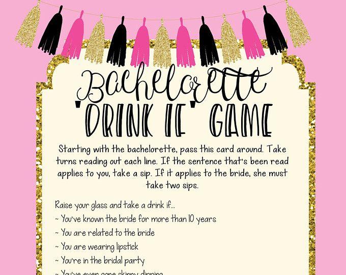 Printable bachelorette game/ bachelorette drinking game / bachelorette party game / drink if game / take a sip game / hen party game