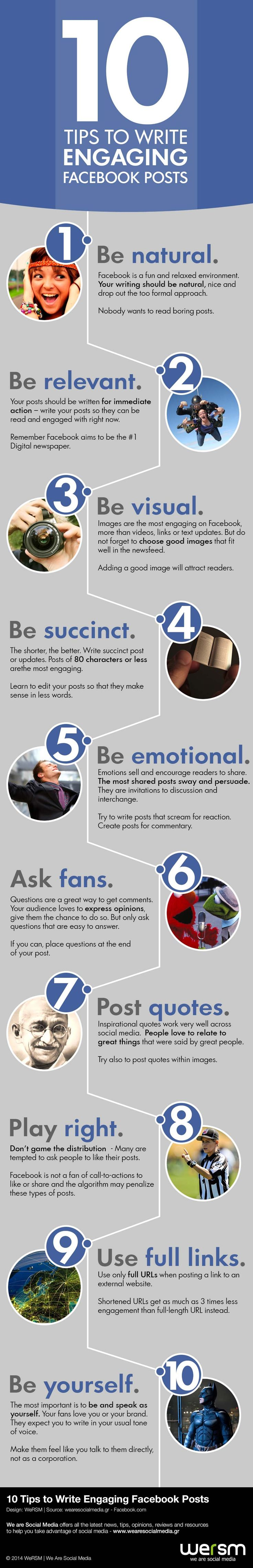 Infographic 10 Tips to Write Engaging Facebook Posts | Infographics Creator