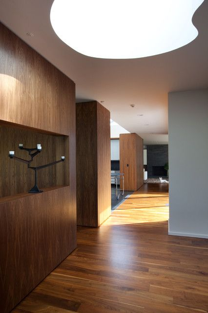 Wood Wall, Ceiling & Wood Floor in Hall Color Theme with Modern Style - Recessed Lighting,  Wood Partition,  Walnut,  Wood Walls &  Wood Floor