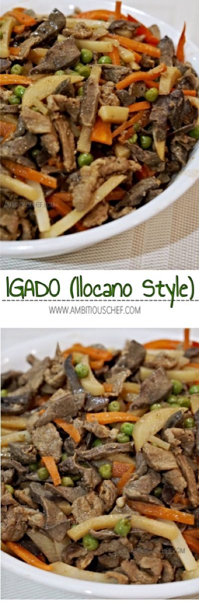 Igado is an Ilocano dish made from strips of meat, liver, kidney, heart, and intestines cooked with garlic, onion, bay leaf, capsicum (bell pepper), green peas, potato, carrot, sugar, salt, vinegar, and soy sauce. Some cooked it with different variations as being oily, soupy, dry and meaty, salty-sour or sweet-sour-salty in taste.