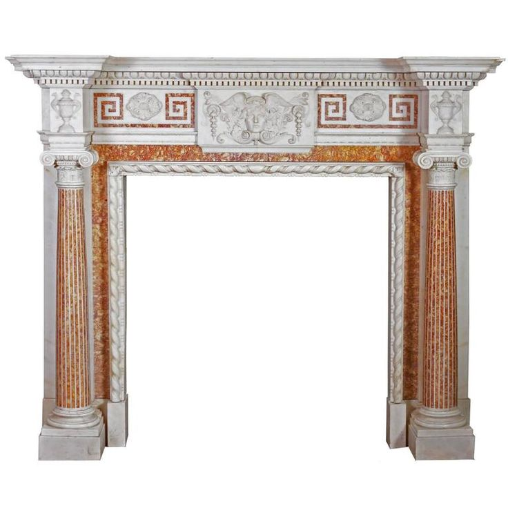 Antique Carved and Inlaid Marble Fireplace 1