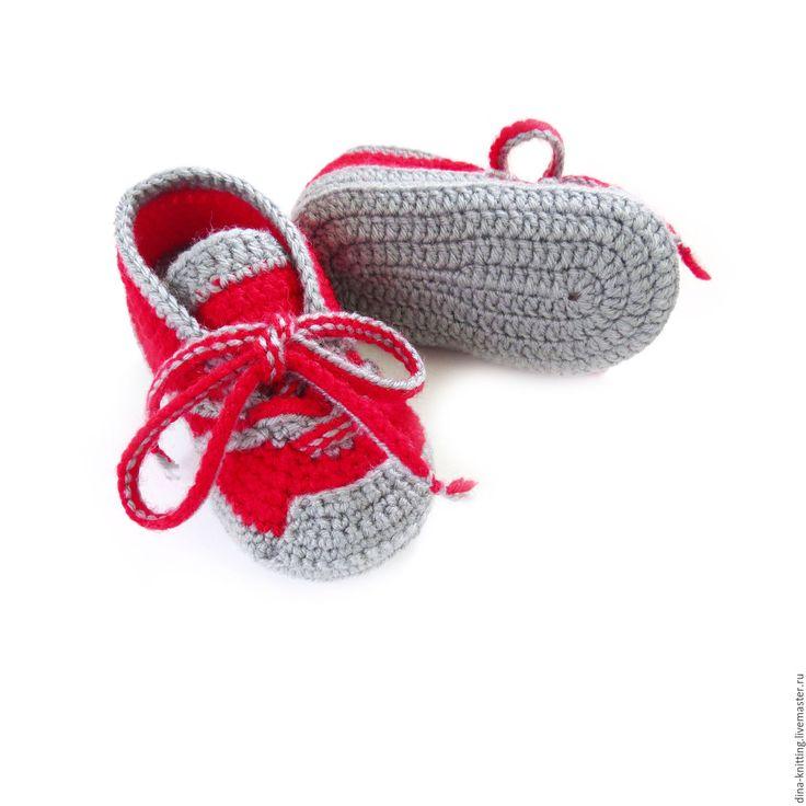Купить пинетки кроссовки кеды вязаные пинетки в подарок красные - пинетки для мальчика, пинетки детские