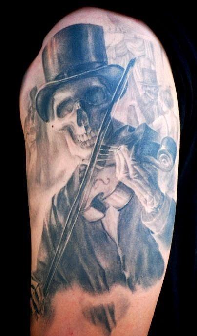 Tatuagem Caveira Violinista