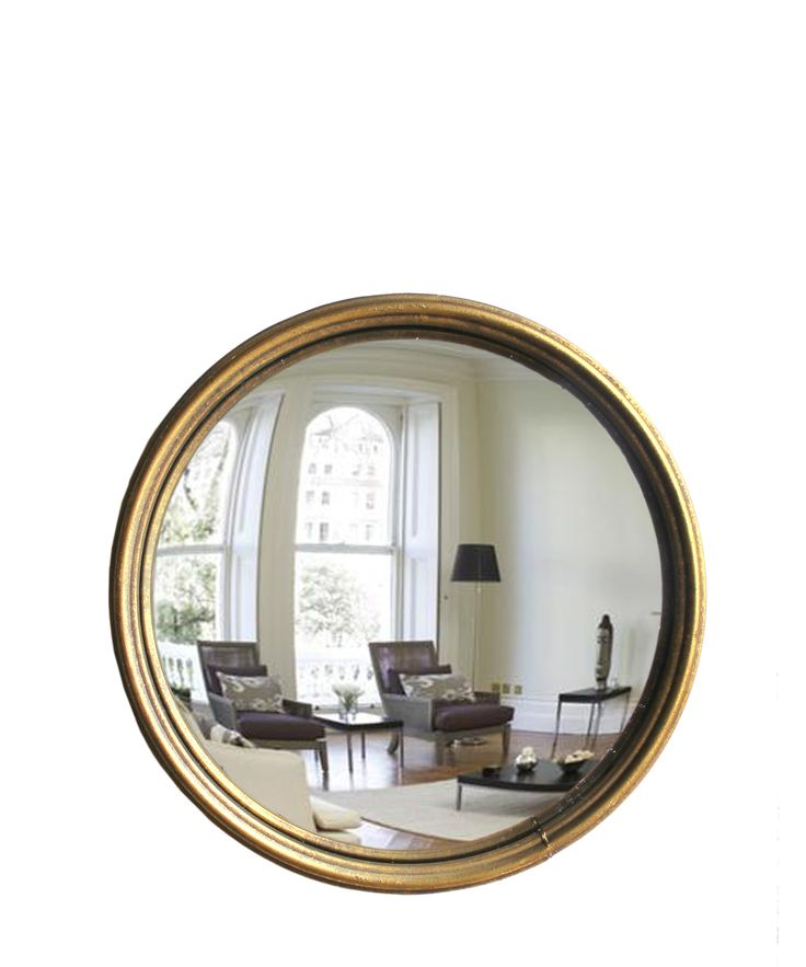 "- Round Convex Mirror, Antique Gold - skinny brass frame - finished in an antique gold - available in two sizes: - 10"" wide -- $55 - 12"" wide -- $68"