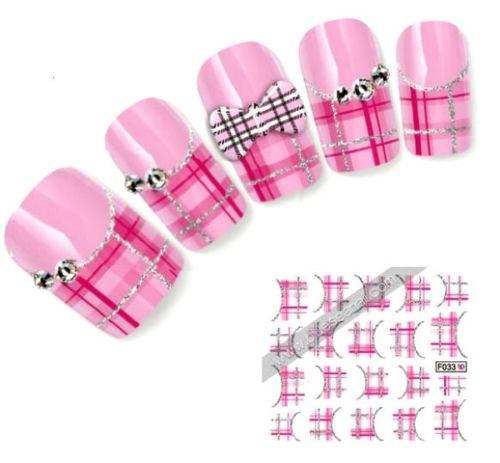 NB69-NAGELSTICKER-Nail-Art-Tattoo-Aufkleber-silber-rosa-Muster