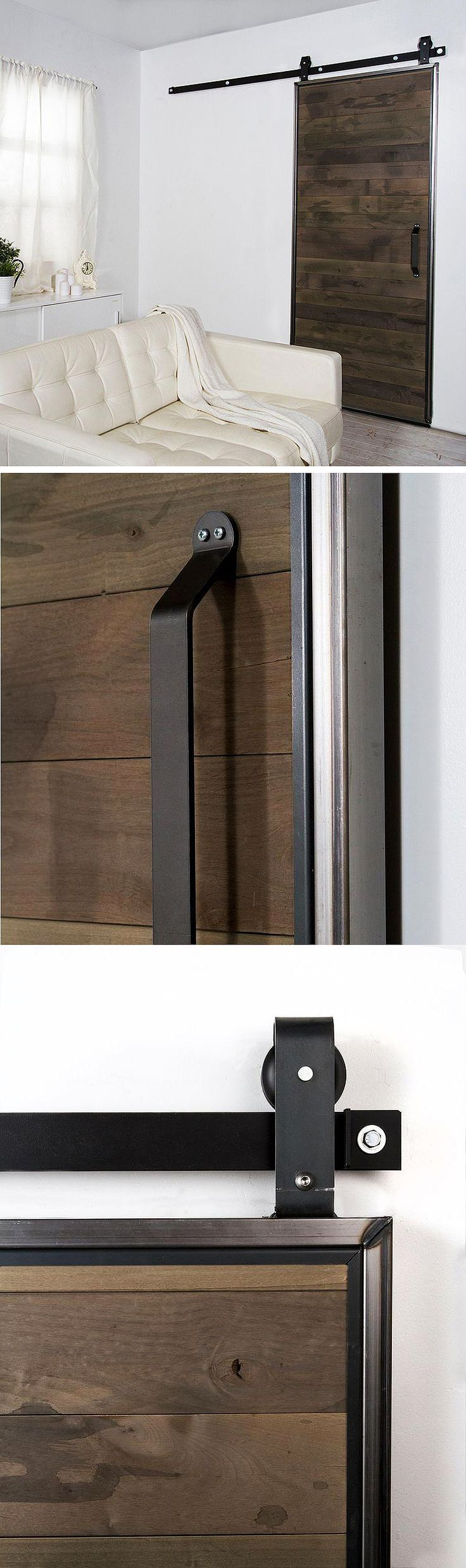 Here's everything you need to add a beautiful sliding barn door to your home. This kit includes the hardware and the solid alder wood slat door. It adds an industrial or rustic look to your room, and a sliding door can be a great space saver.