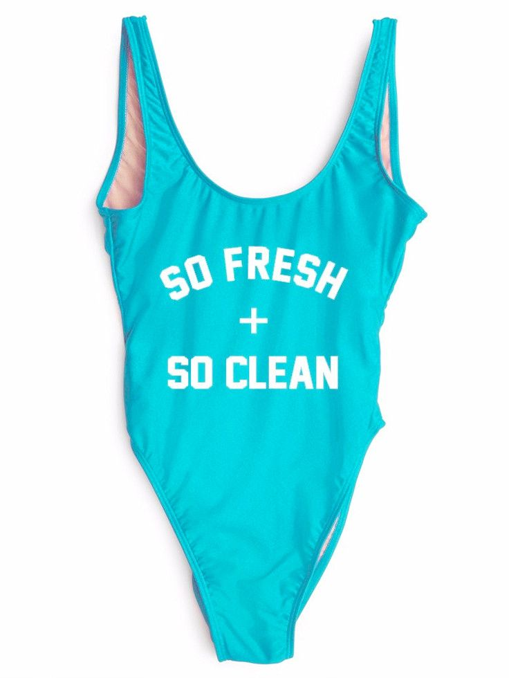 SO FRESH + SO CLEAN One-Piece Slogan Swimsuit