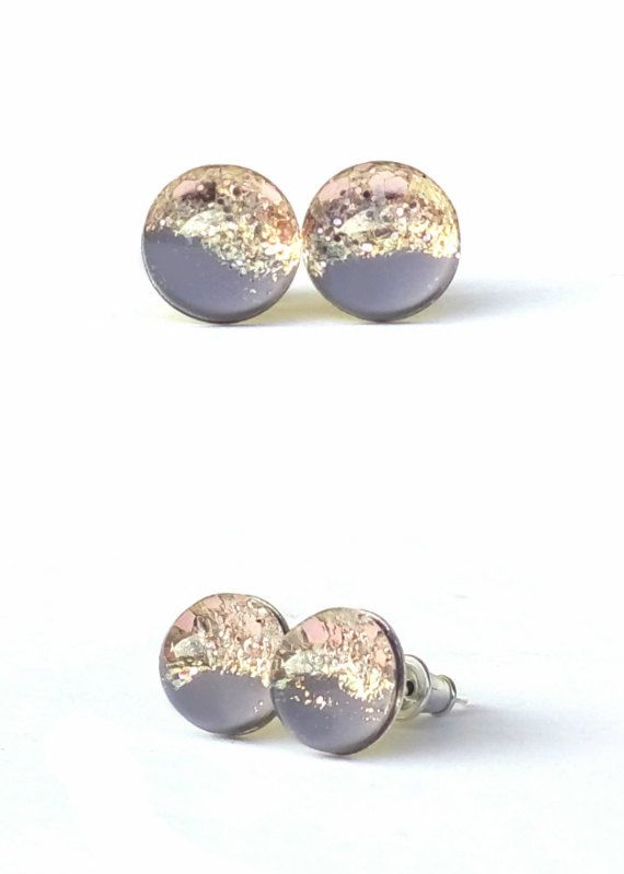 Sahara stud earrings, post earrings, small stud, resin earrings, tiny stud, gift for her, brown and gold, earring stud by TheSparklingDot on Etsy https://www.etsy.com/listing/230364685/sahara-stud-earrings-post-earrings-small
