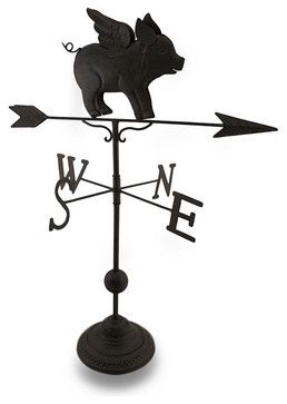 Bronze Finish Flying Pig Decorative Tabletop Weathervane Statue traditional-decorative-objects-and-figurines