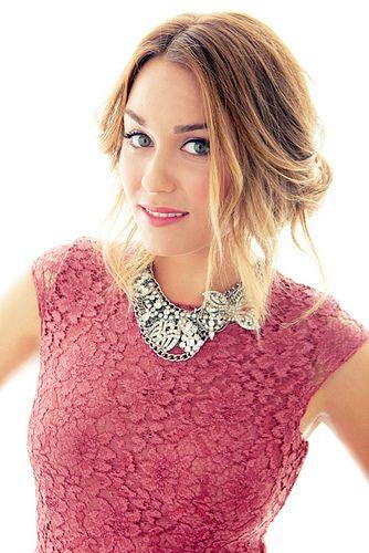 Lace top, bib necklace. Hair and makeup. Lauren Conrad